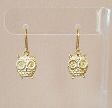 Owl Dangle Style Hook Drop Earrings Yellow Gold Plated Womens Girls Jewelry Gift