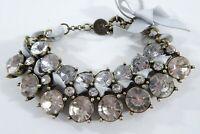 Abercrombie & Fitch Round Two Row Crystal Ribbon Tie Link Bracelet NIP $69