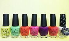 Opi Nail Lacquer *Neon Brights Collection 2014* 6 Shades & White Base Coat New!