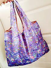 Blue Little Twin Stars Fruit Food FOLDABLE SHOPPER TOTE BAG Handbag Shopping Bag