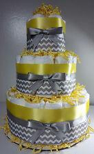 3 Tier Diaper Cake - Yellow Silver/White Chevron - Baby Shower Centerpiece