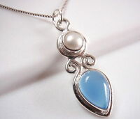 Chalcedony Pearl Necklace 925 Sterling Silver Teardrop Marquise Double Gemstones