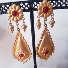 Vintage Ben Amun Dangle Earrings w Small Red Gripoix Glass Stones Small Charms