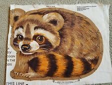 VTG RANDY RACOON CUT & SEW LOWENSTEIN FABRIC PANEL,STUFFED ANIMAL PILLOW CRAFT