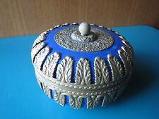 """RARE! 5"""" CZECHOSLOVAKIA ORMOLU DRESSER BOX JAR vanity trinket elfinware brass"""