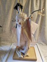 Vintage fuji musume Geisha doll 20 inch cloth hands feet wisteria maiden