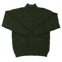 ORVIS 100% Wool Sweater Fisherman Cable Knit Full Zip Mens Large Green Pockets