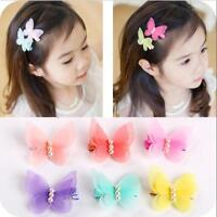 2Pcs Kids Baby Chiffon Butterfly Girls Princess Hair Pin Headwear Hair Clips
