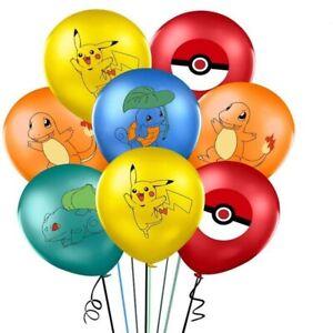 POKEMON PIKACHU BALLOONS 5 PACK BIRTHDAY PARTY LOLLY LOOT BAG BALLOON SUPPLIES
