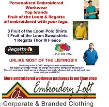Fruit of the Loom Regatta PERSONALISED EMBROIDERED POLO SHIRT WORKWEAR PACK F/L1