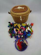 Wicker Sewing Basket w/ Swordfish Decoration & Lot of Multicolor Cotton Thread