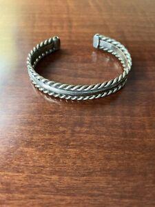 Vintage Twisted Wire Design Cuff Bracelet Sterling Silver Br 2929