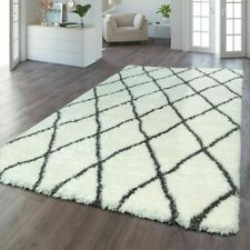 Modern Shaggy Rug Geometric Soft Rugs Fluffy Thick Carpet Cream Grey Large Mats