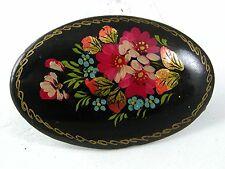 Firmado Vintage Ruso Grupo de Flores Negro Lacado Madera Broche 6917