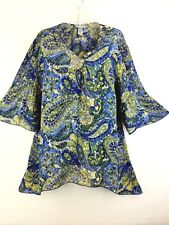 1X 18 20 Catherines 3/4 Bell Sleeve Paisley Chiffon Crinkle Tunic Top Blouse 2X