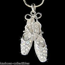 w Swarovski Crystal BALLERINA Slippers Ballet Dance Shoes Jewelry Charm Necklace