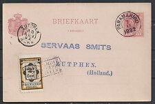 Surinam 1892 uprated PC to Zutphen + ShipCANC
