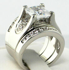 BOLD Bridge Princess Cut Cubic Zirconia Bridal Wedding 3 PC. Ring Set - SIZE 8