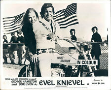 George Hamilton as Evel Knievel with Sue Lyon on Harley Davidson bike lobby card