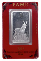 2015 PAMP SUISSE Lunar Goat One Ounce Silver Bar In Assay RARE