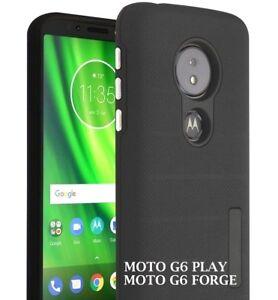 Motorola Moto G6 PLAY / G6 FORGE - Hard Hybrid Armor Impact Non-Slip Case Black