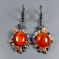 Amber Earrings Silver 925 Sterling Vintage SET  /E38712