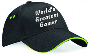 Embroidered World's Greatest....... Black/Lime Ultimate Baseball Cap, Ideal Gift