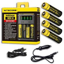 NiteCore IntelliCharger i4 w/4x NL147 14500 Batteries +Car & Wall Adaptor