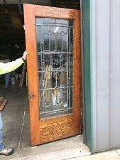 An554 Antique Oak Beveled glass entrance door 37.75 x 89.5 X 13/4