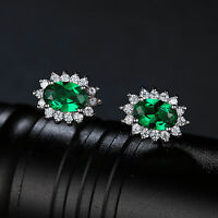 2.5ct Luxury Emerald 10mm Earrings Solid Sterling Silver Special Occassion Gift