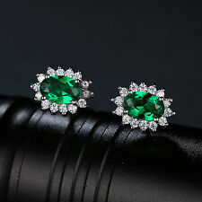 Emerald Earrings 10mm Solid Sterling Silver Special Occassion Christmas Gift