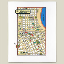 New Orleans Louisiana LA Vintage 1950s Map Print Theaters Stores Hotels River