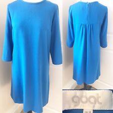 GOAT Royal Blue 100% Wool Crepe Dress Size 12 Tunic Trapeze Work