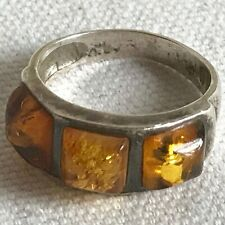 Amber & Sterling Silver 3 Stone Ring Made in Poland