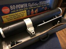 VINTAGE GILBERT 80 POWER ASTRONOMICAL TELESCOPE MODEL 13214 IN CARRY CASE