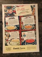 RARE Vintage 1941 Campbell's Soups Ad 11.5x15 inch WWII Christmas COLORFOTO ROTO