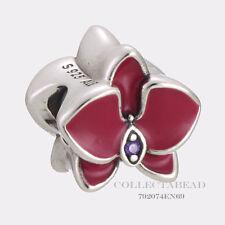 Authentic Pandora Silver Radiant Orchid Enamel Purple CZ Orchid Bead 792074EN69