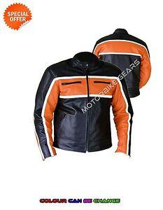 Mens classic biker jacket in orange around chest and black motorbike jacket sale