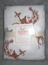 Nwt Pottery Barn Kids Rudolph Red Nosed Reindeer Flannel Twin Sheet Set! Rare