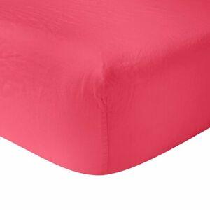 "New Yves Delorme Originel Sorbet Red Sieste 18"" Fitted Sheet 75""x85"" 100% Linen"