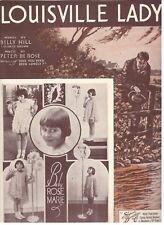 "BABY ROSE MARIE/BILLY HILL/PETER DE ROSE ""LOUISVILLE LADY"" SHEET MUSIC-1933-RARE"