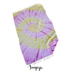 Sunshine Tie Dye Turkish Beach Towel Pink and Yellow Batik Premium Loopys Brand