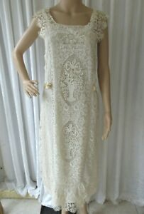 EXQUISITE ANTIQUE 1920's FRENCH MIXED LACE'S EMBROIDERD LAWN DRESS/WEDDING.Small