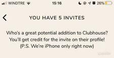 Invito app Clubhouse - invio immediato (invitation iPhone Ios)