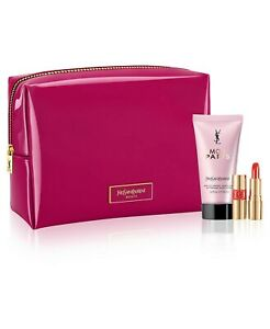 Yves Saint Laurent Mon Paris Lotion and Lipstick In A Pink Cosmetics Bag
