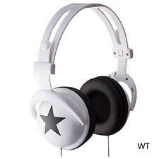 3.5mm Over-Ear Adjustable Star Funky DJ Headphones for Kids Childrens WHT