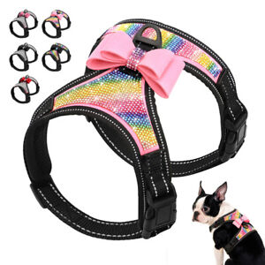 Cute Bow Tie Rhinestone Crystal Diamante Dog Harness Reflective Pet Walking Vest
