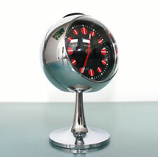 BLESSING RETRO Alarm TOP Clock Mid Century FULL CHROME German Pedestal Space Age