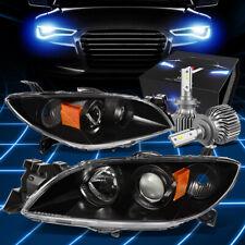 Fit 2004 2009 Mazda 3 Sedan Projector Headlight Withled Kit Slim Style Blackamber Fits Mazda 3