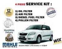FOR SKODA FABIA 1.9TD 105BHP 05/2007-> OIL AIR FUEL POLLEN 4 FILTER SERVICE KIT